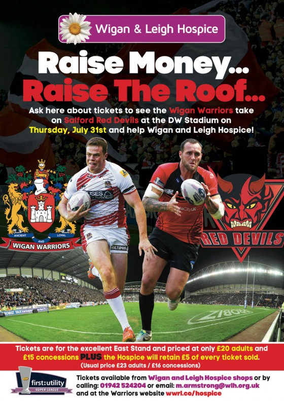 Help Wigan & Leigh Hospice With Discounted Wigan Warriors Tickets